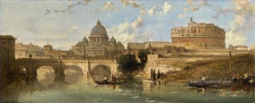 CASTLE UND BRIDGE OF ST ANGELO ROM Italien David Roberts RA Stadtbild Ölgemälde