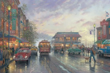 Andere Stadtlandschaft Werke - City by the Bay Thomas Kinkade cityscapes