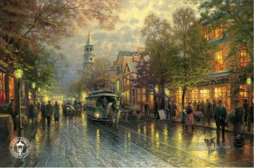 Andere Stadtlandschaft Werke - Evening on the Avenue Thomas Kinkade cityscapes