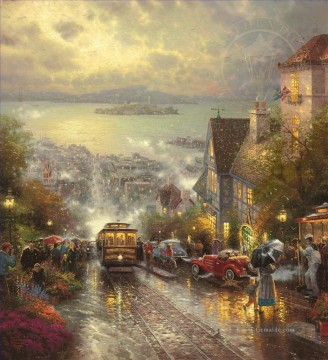 Andere Stadtlandschaft Werke - Hyde Street And The Bay San Francisco Thomas Kinkade cityscapes