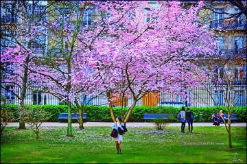 Andere Stadtlandschaft Werke - Blooming tree in the Jardins du Luxembourg cityscapes