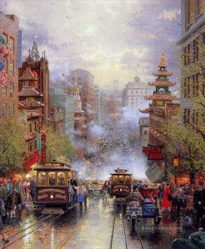Andere Stadtlandschaft Werke - San Francisco A View Down California Street From Nob Hill Thomas Kinkade cityscapes