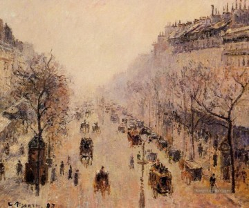 Paris Werke - boulevard montmartre morning sunlight and mist 1897 Camille Pissarro Paris