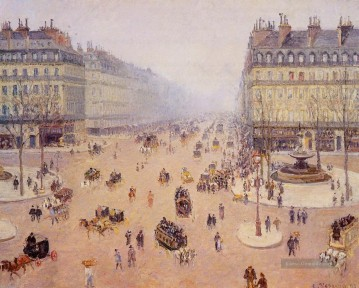 Paris Werke - avenue de l opera place du thretre francais misty weather 1898 Camille Pissarro Pariser