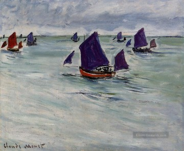 monet seerosen Ölbilder verkaufen - Fishing Boats off Pourville Claude Monet