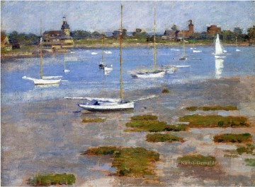 Landschaft am Kai Werke - Low Tide The Riverside Yacht Clubs Impressionismus Boot Theodore Robinson
