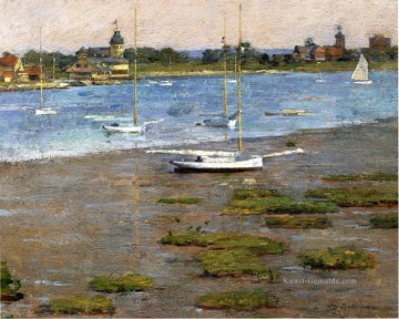 Landschaft am Kai Werke - The Anchorage Cos Cob Impressionismus Boot Theodore Robinson