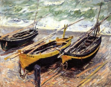 monet seerosen Ölbilder verkaufen - Three Fishing Boats Claude Monet