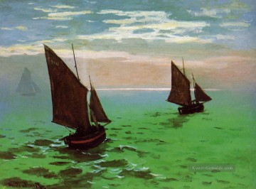 monet seerosen Ölbilder verkaufen - Fishing Boats at Sea Claude Monet