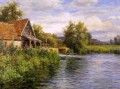 Cottage der Fluss Landschaft Louis Aston Knight seine