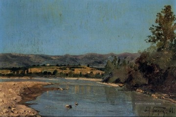 Teich See Wassfall Werke - The Banks of the Durance at Puivert Szenerie Paul Camille Guigou Landschaft