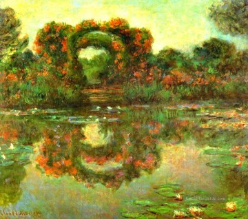Teich See Wassfall Werke - The Flowered Arches at Giverny Claude Monet Landschaft