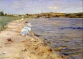 Strand Szene Morgen am Kanu Platz Impressionismus William Merritt Chase Landschaft