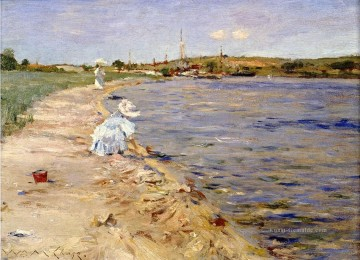 Teich See Wassfall Werke - Strand Scene Morning at Canoe Place Impressionismus William Merritt Chase Landschaft
