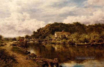 Teich See Wassfall Werke - On The Stour in der Nähe von Flatford Mühle Suffolk Landschaft Benjamin Williams Leader