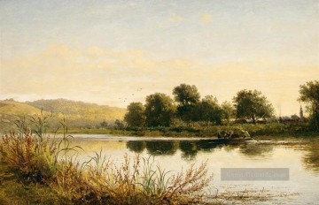 Teich See Wassfall Werke - Streatley on Thames Landschaft Benjamin Williams Leader