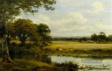 Teich See Wassfall Werke - Surrey Cornfields Landschaft Benjamin Williams Leader