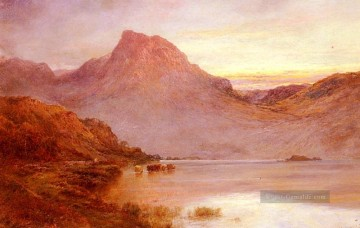 Teich See Wassfall Werke - The Evening Glow Near Arrochar Landschaft Alfred de Breanski Snr