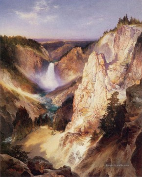 Great Falls des Yellowstone Landschaft Thomas Moran Berge Ölgemälde