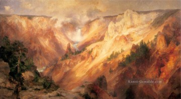 der Grand Canyon des Yellowstone Landschaft Thomas Moran Berge Ölgemälde