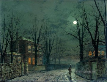Stadtlandschaften Kunst - The Old Hall Under Moonlight Stadtlandschaften Landschaft John Atkinson Grimshaw