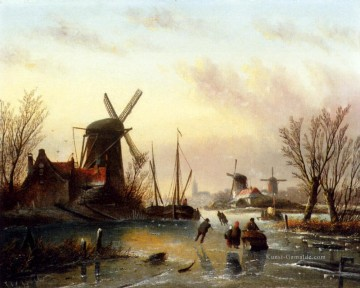 River Galerie - A Frozen Niet Landschaft Boot Jan Jacob Coenraad Spohler