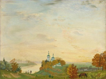 the annunciation 1785 Ölbilder verkaufen - ABOVE THE RIVER AUTUMN Boris Mikhailovich Kustodiev planen Szenen Landschaft