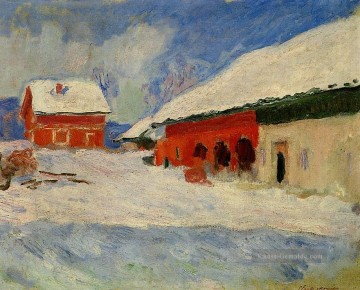 monet seerosen Ölbilder verkaufen - Red Houses at Bjornegaard in the Snow Norway Monet