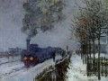 Train in the Snow the Locomotive Monet