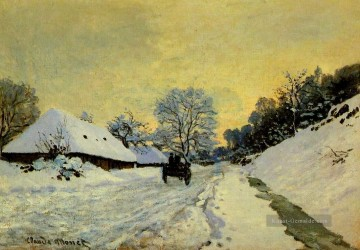 monet seerosen Ölbilder verkaufen - A Cart on the Snow Covered Road with SaintSimeon Farm Monet