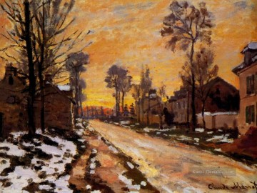 monet seerosen Ölbilder verkaufen - Road at Louveciennes Melting Snow Sunset Monet