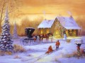 Christmas carriage with pferd and kids with hund snowing