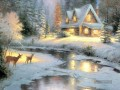 Deer Creek Cottage Thomas Kinkade Landschaft im Schnee