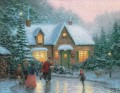 Skater Teich Thomas Kinkade Winter