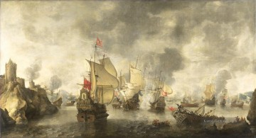 Kriegsschiff Seeschlacht Werke - Battle of the combined Venetian and Dutch fleets against the Turks in the Bay of Foja 1649 Abraham Beerstratenm 1656