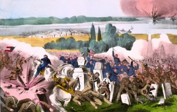 Kriegsschiff Seeschlacht Werke - Currier Ives The Battle of Baton Rouge La Aug 4th 1862 Seeschlachten