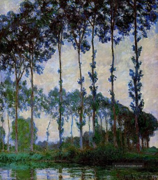 Gehölz Gemälde - Poplars on the Banks of the River Epte Overcast Weather Claude Monet Wald