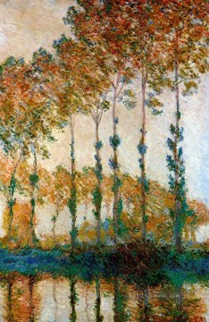 Gehölz Werke - Poplars on the Banks of the River Epte in Autumn Claude Monet Wald