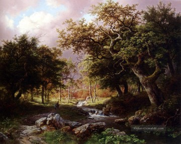 Gehölz Gemälde - A Wooded Landschaft With Figures Along A Stream Niederlande Barend Cornelis Koekkoek Wald