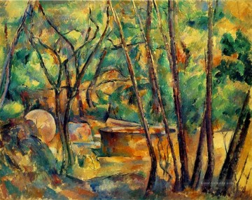 Gehölz Gemälde - Millstone and Cistern Under Trees Paul Cezanne Wald