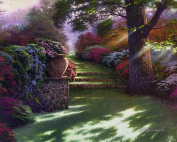 Pathway to Paradies Thomas Kinkade Wald Ölgemälde