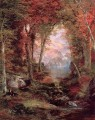 The Autumnal Woods Under the Trees Landschaft Thomas Moran
