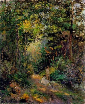 Gehölz Gemälde - autumn path through the woods 1876 Camille Pissarro