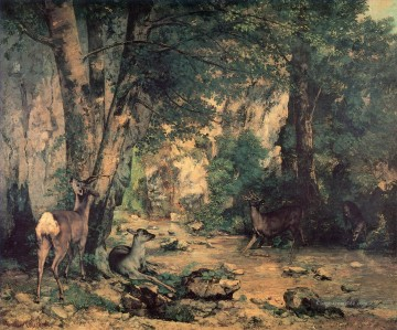 Gehölz Werke - A Thicket of Deer at the Stream of Plaisir Fountaine Realismus Gustave Courbet Wald