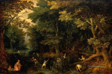 Gehölz Gemälde - Latona and the Lycian Peasants Flämisch Jan Brueghel the Elder Wald