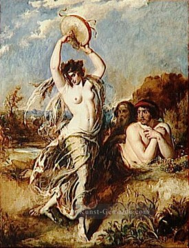 dogs playing poker Ölbilder verkaufen - Bacchante Playing the Tambourine William Etty Nacktheit