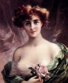 The Pink Rose girl Emile Vernon Nacktheit Impressionismus