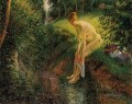 bather in the woods 1895 Camille Pissarro Nacktheit Impressionismus
