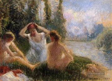 Nacktheit und Balletttänzerin Gemälde - bathers seated on the banks of a river 1901 Camille Pissarro Nacktheit Impressionismus