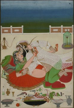 Nacktheit und Balletttänzerin Gemälde - Lovemaking Couple in on Palace Terrace Udaipur Circa 1830 sexy